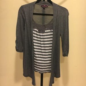 Gray and White cardigan top